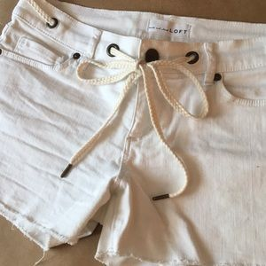 LOFT Raw Hem Rope Tie Shorts